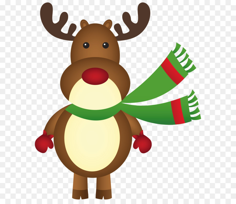 rudolph santa clauss reindeer christmas clip art christmas rudolph with scarf png clipart image