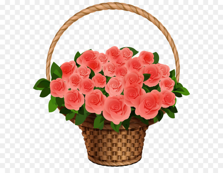 Flower Bouquet Rose Clip Art Basket With Red Roses Png Clipart