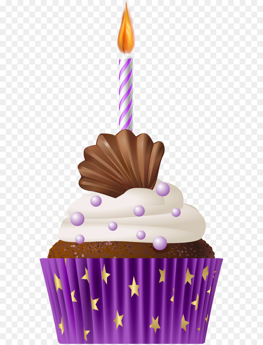 Cupcake Birthday Cake Muffin Birthday Muffin Purple With Candle