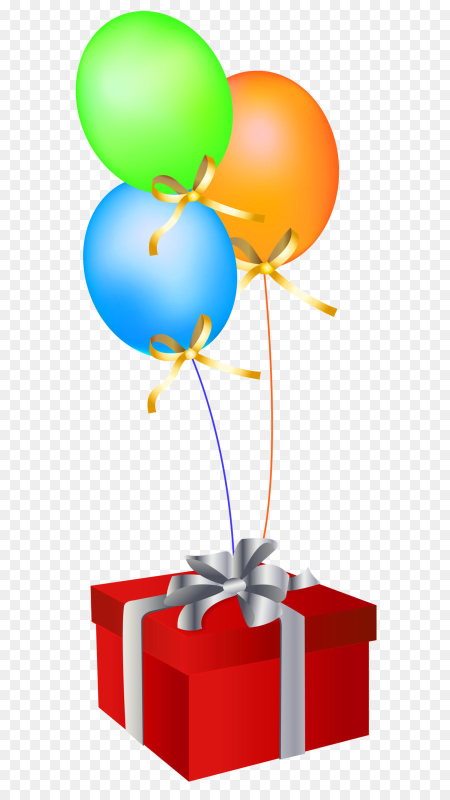 Balloon Gift Birthday Greeting card Clip art - Red Gift Box with Balloons png download - 1400*3406 - Free Transparent Balloon png Download.