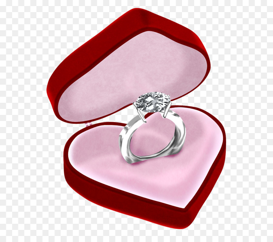 Engagement ring Jewellery Diamond - Diamond Ring in Heart Box PNG ...