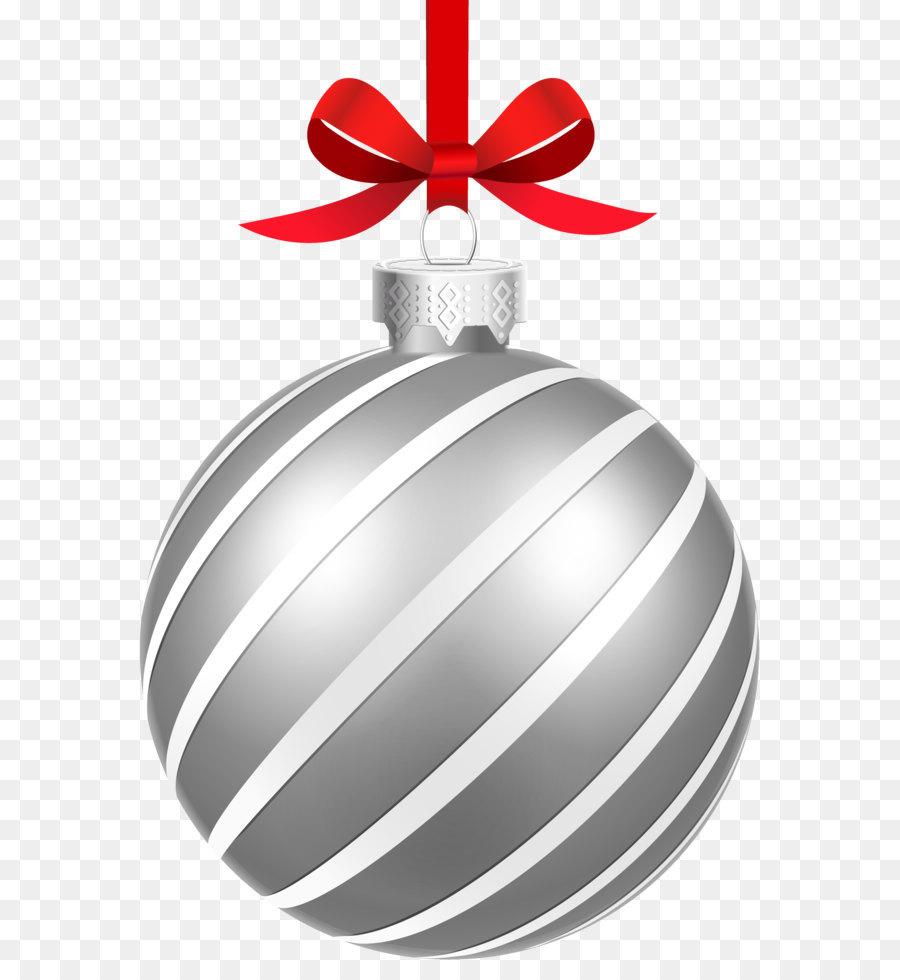 Christmas ornament Christmas decoration Clip art - Silver Striped ...