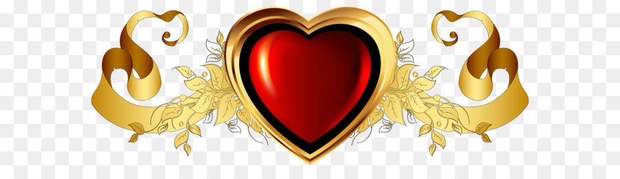 heart gold clip art large red heart with gold banner