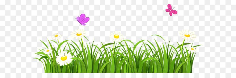 Butterfly Flower Lawn Clip Art Grass And Butterflies Png Clipart