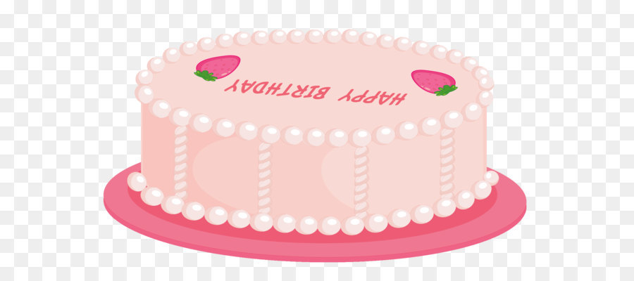 Birthday Cake Icing Clip Art Pink Happy Birthday Cake Png Clipart