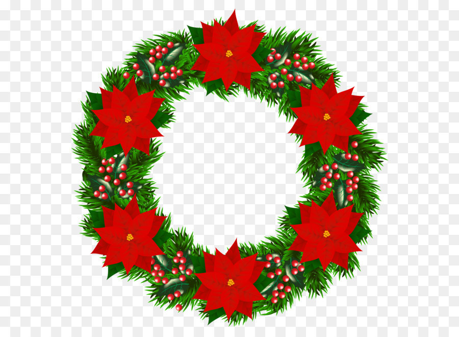 christmas tree santa claus wreath poinsettia christmas wreath with poinsettia png clipart image