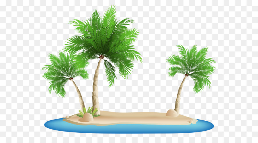 Beach Clip Art   Palm Trees Island PNG Clipart Image