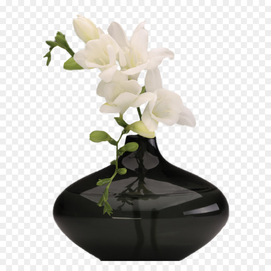 Black Vase With White Orchids Png Picture Png Download 7501020