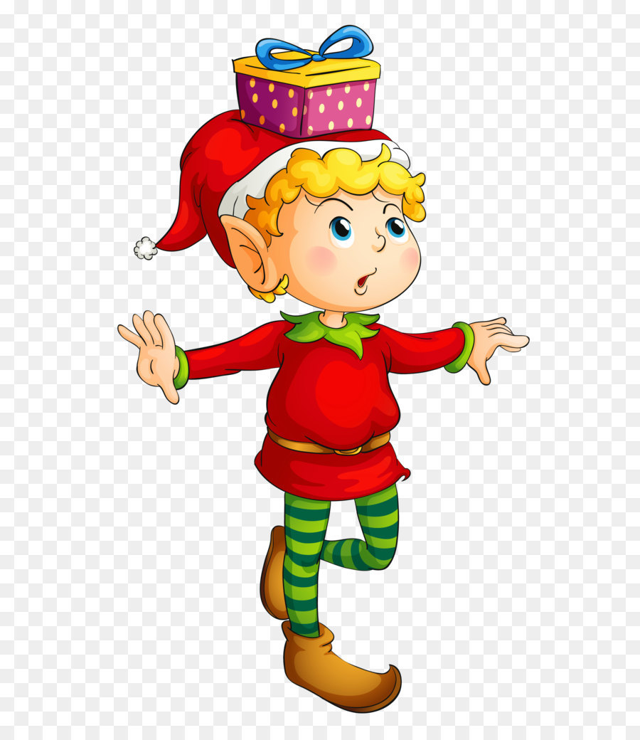 Rudolph Santa Claus Christmas elf Clip art - Christmas Elf with Gift ...