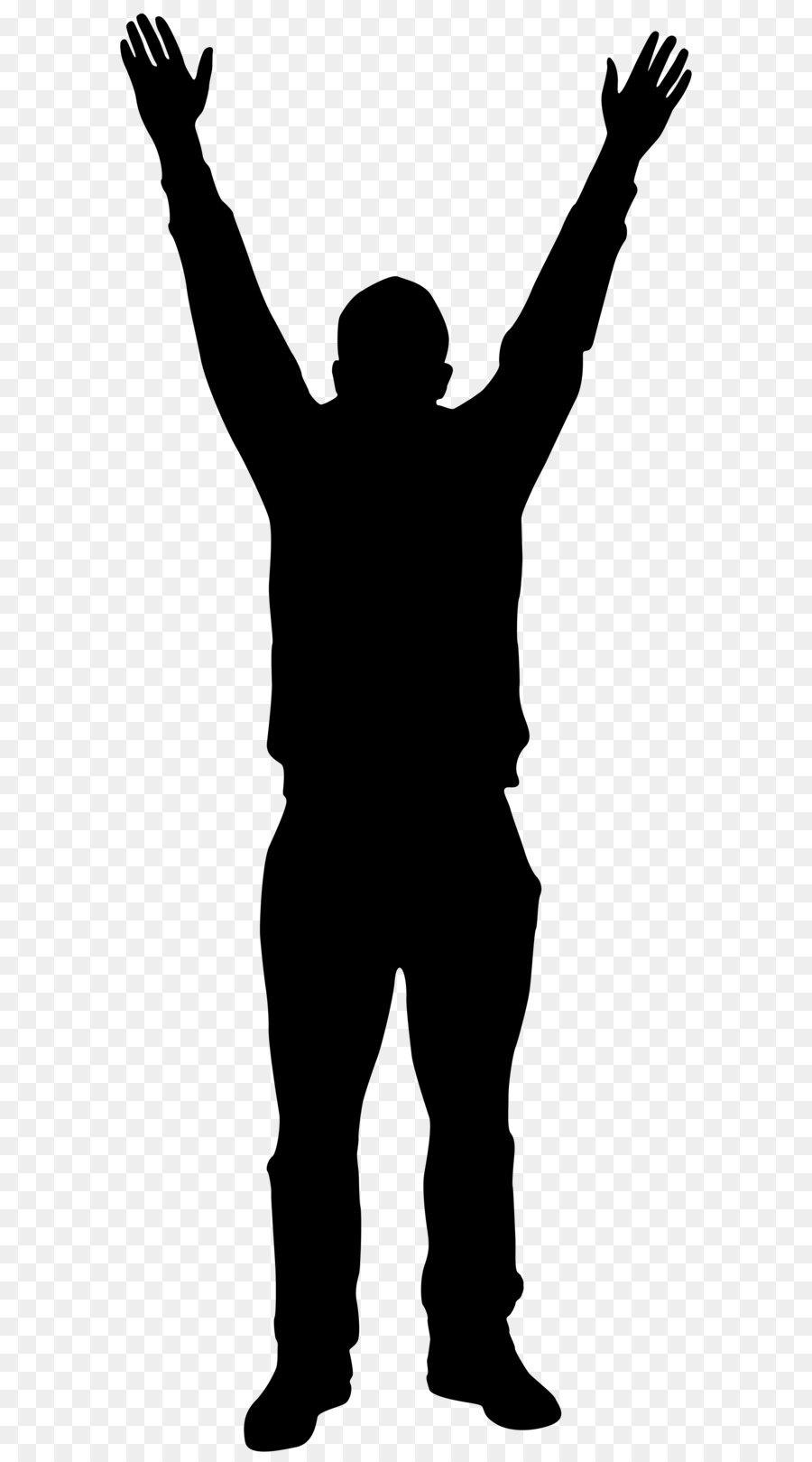 Silhouette Man Clip Art Man With Hands Up Silhouette Png