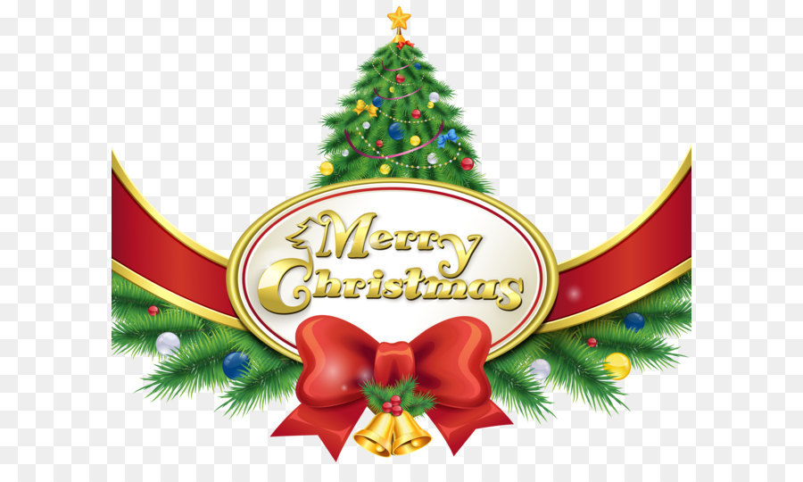 christmas eve santa claus merry christmas happy holidays merry christmas with tree and bow png clipart image - Christmas Eve Clipart