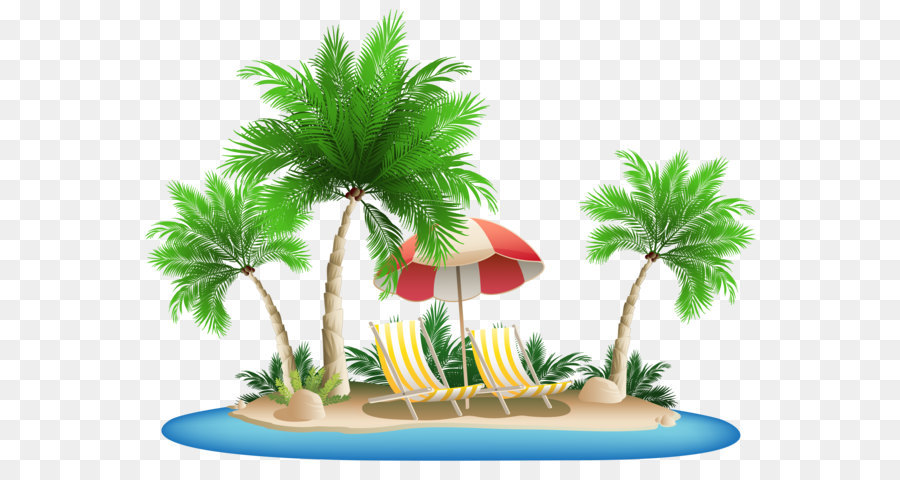 Palm Islands Hawaii Clip Art Beach Umbrella With Chairs And Island Png Clipart