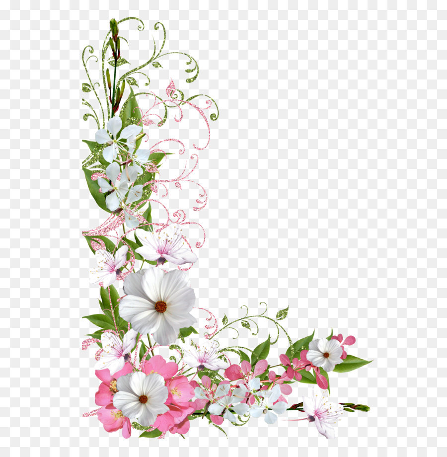 Flower Clip Art Pink And Green Spring Decor Png Picture Clipart