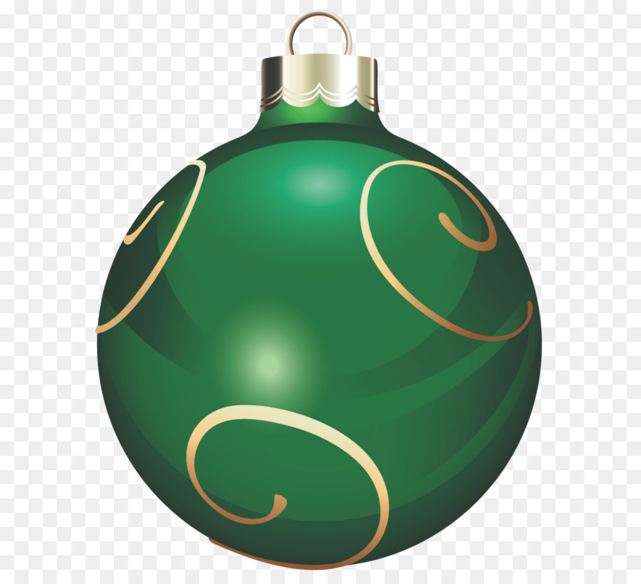 Transparent Green And Gold Christmas Ball PNG Clipart