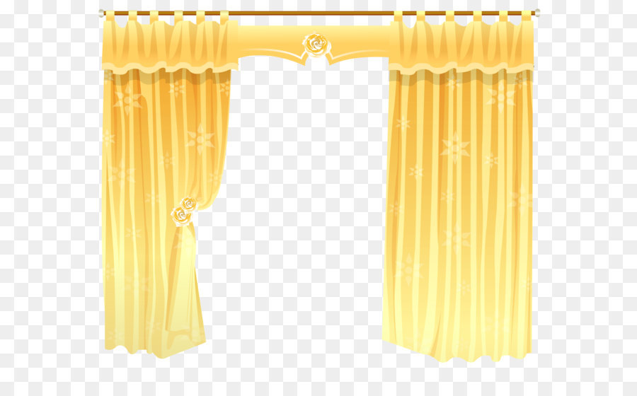 Window Treatment Curtain Rod Shower   Yellow Curtains Transparent PNG  Clipart