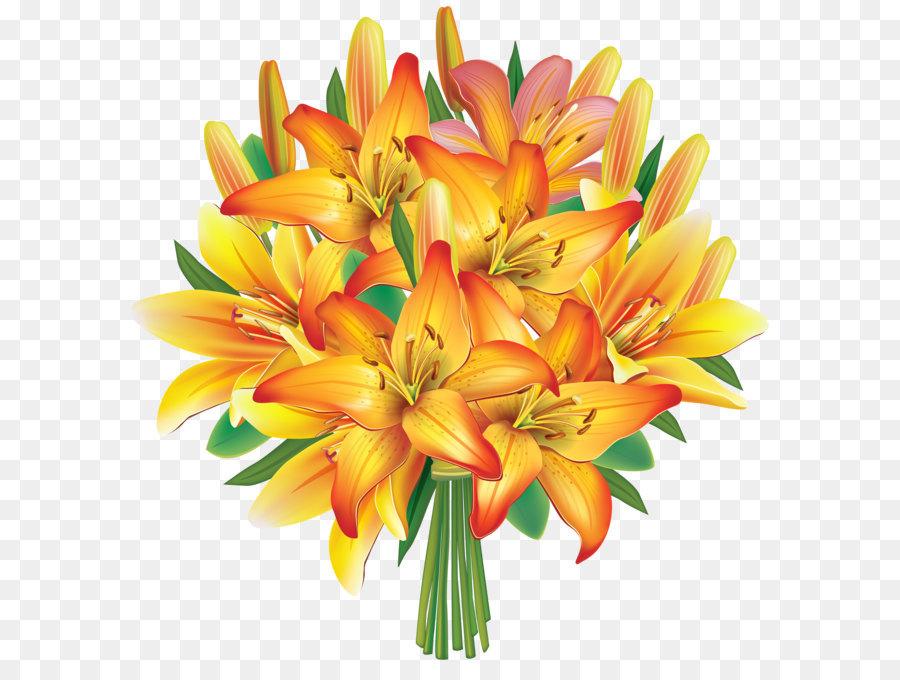 Flower bouquet Wedding invitation Clip art - Yellow Lilies Flowers ...
