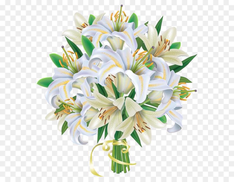 Blumenstrauss Hochzeit Clip Art Weisse Lilien Blumen Bouquet Png