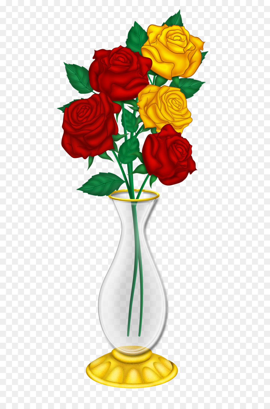 Vase Flower Rose Clip Art Beautiful Vase With Red And Yellow Roses