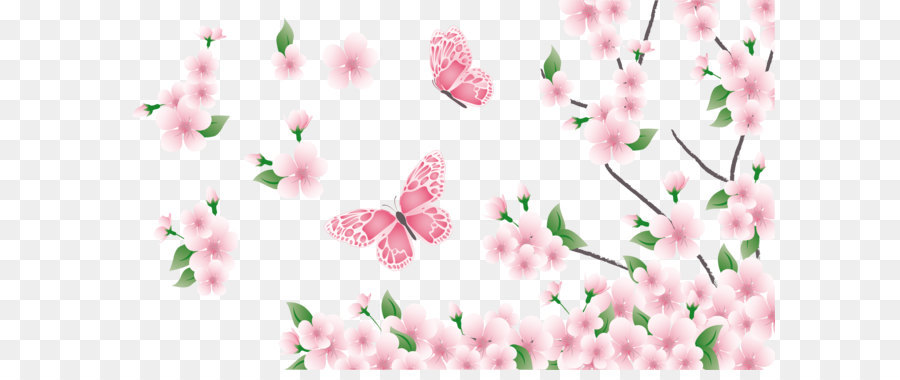 Spring clip art spring branch with pink flowers and butterflies spring clip art spring branch with pink flowers and butterflies png clipart mightylinksfo