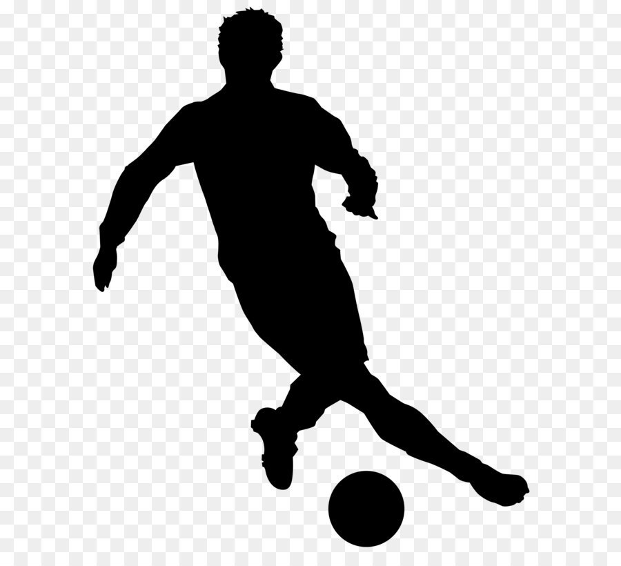 black and white recreation football player silhouette football rh kisspng com playing soccer clipart black and white