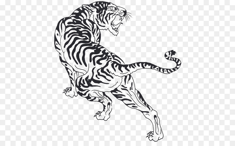 Tiger Cat Felidae Black And White Line Art Tiger Tattoos Picture