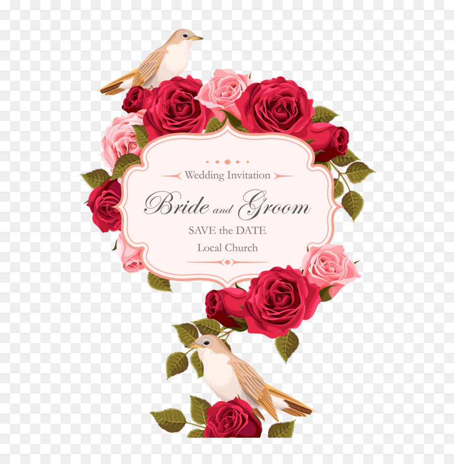 Wedding invitation Rose Euclidean vector - Rose painted birds vector ...