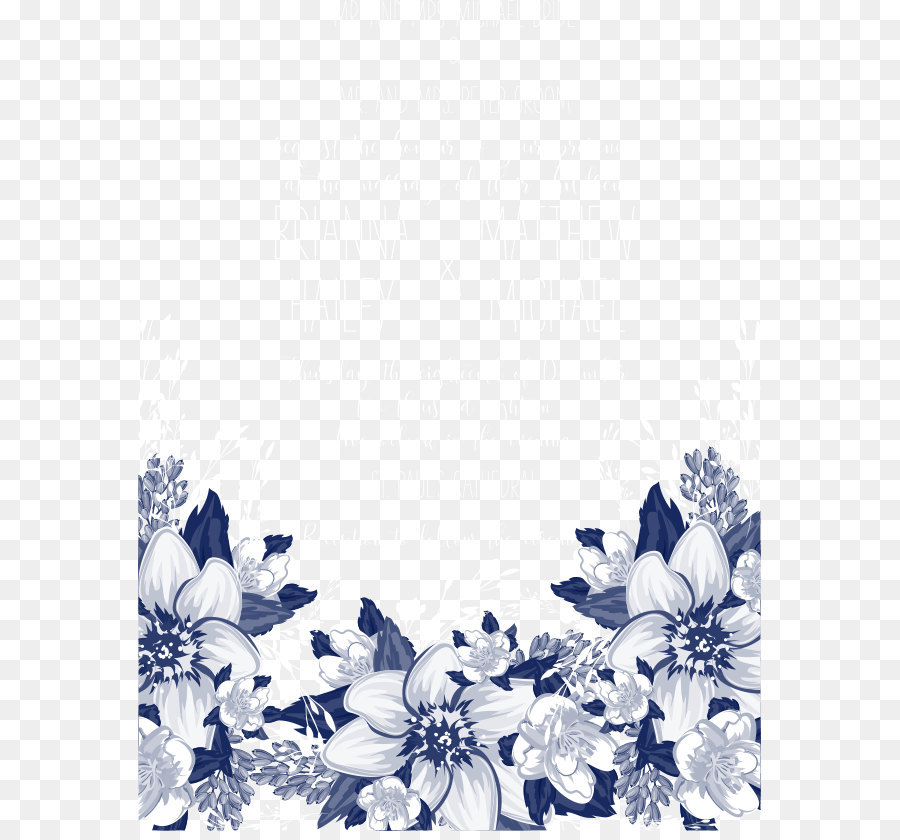 Blue Petal Black and white Pattern - Vector blue flowers ...