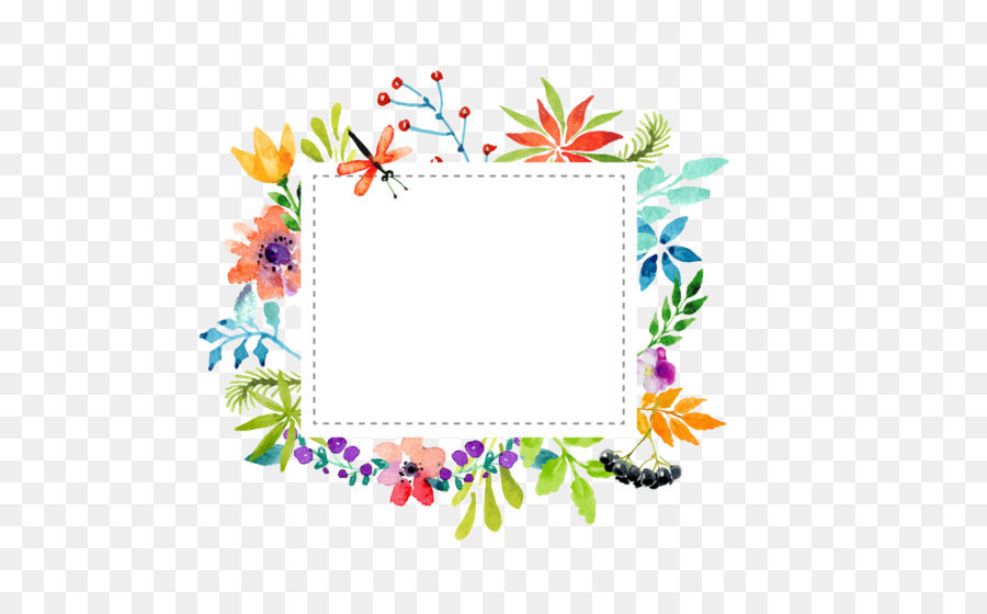 watercolor flowers border vector material png download
