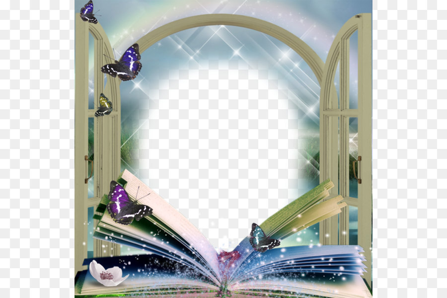 Picture frame - Beautiful book butterfly frame png download - 600 ...