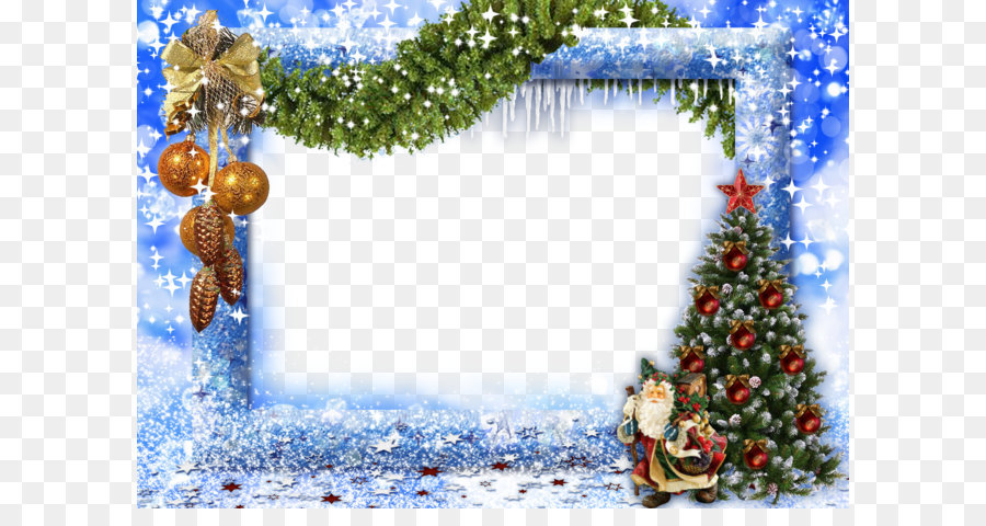 Christmas Picture frame New Year - Blue Christmas Frame png download ...