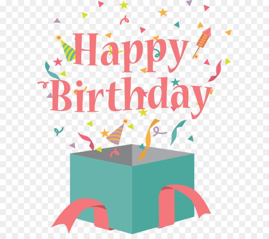Birthday Cake Gift Greeting Card Clip Art Birthday Gift Box Flat