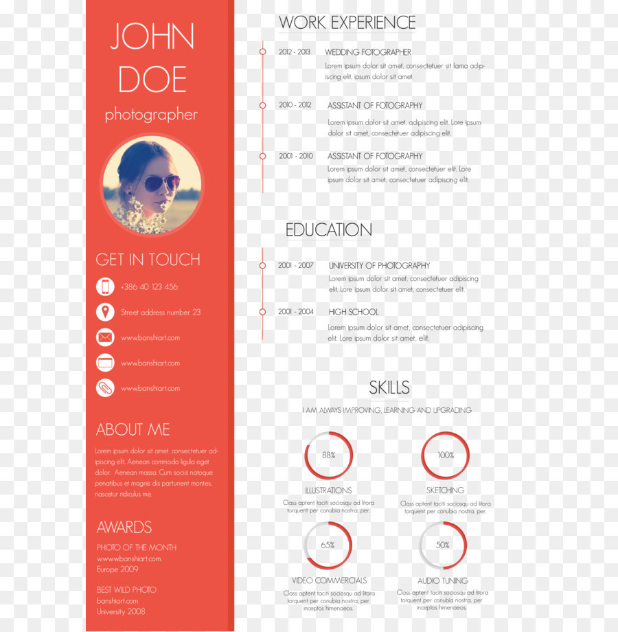 Resume Template Skill Cover Letter Curriculum Vitae Red Personal