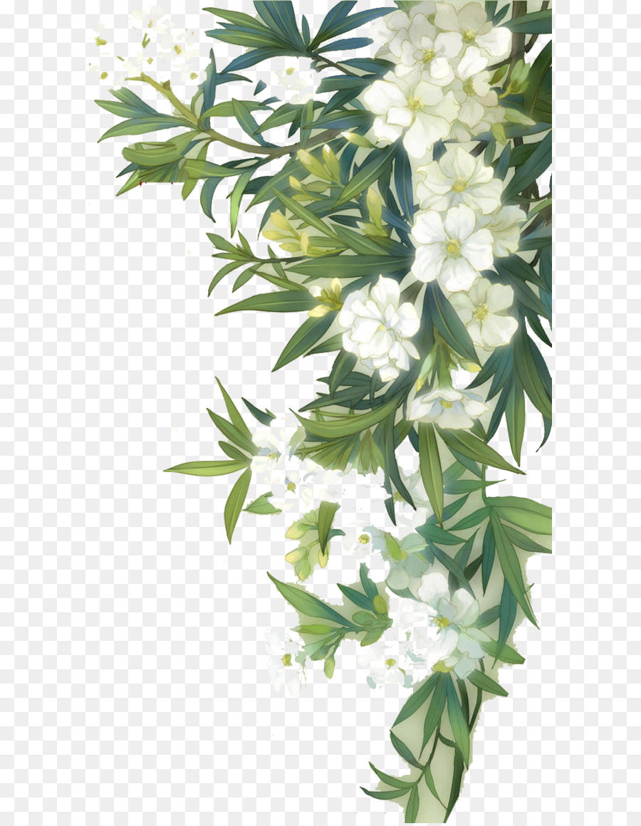 Familiar Wild Flowers Watercolour Flowers White Blooming Flowers