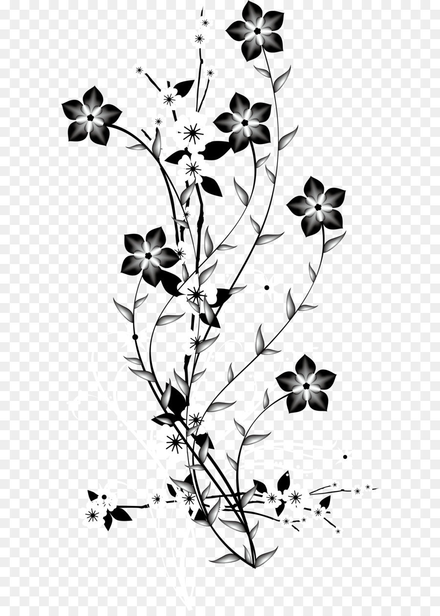 China Japan Flower Euclidean Vector Black And White Decorative