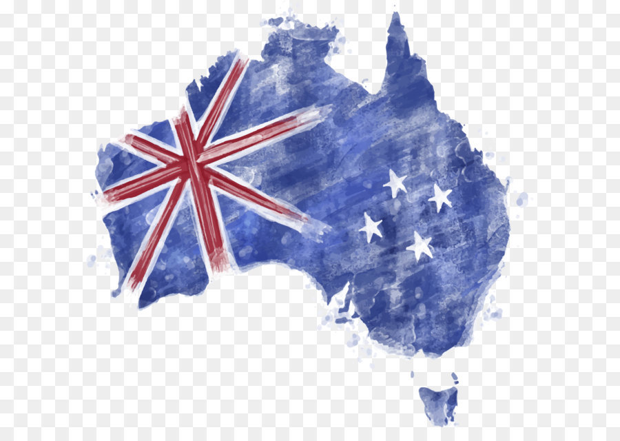 Flag Of Australia Map Watercolor Blue Flag Of Australia Png