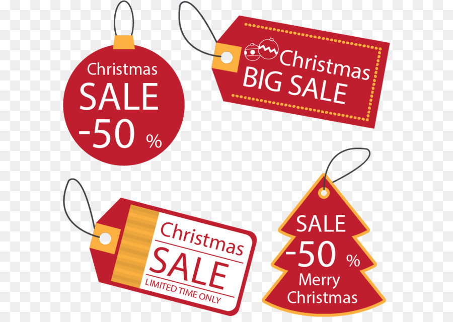 Christmas tree Sales Discounts and allowances - Red Christmas discount tags