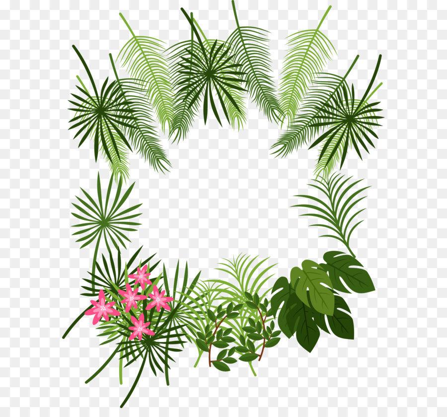 tropical leaf decoration box png download
