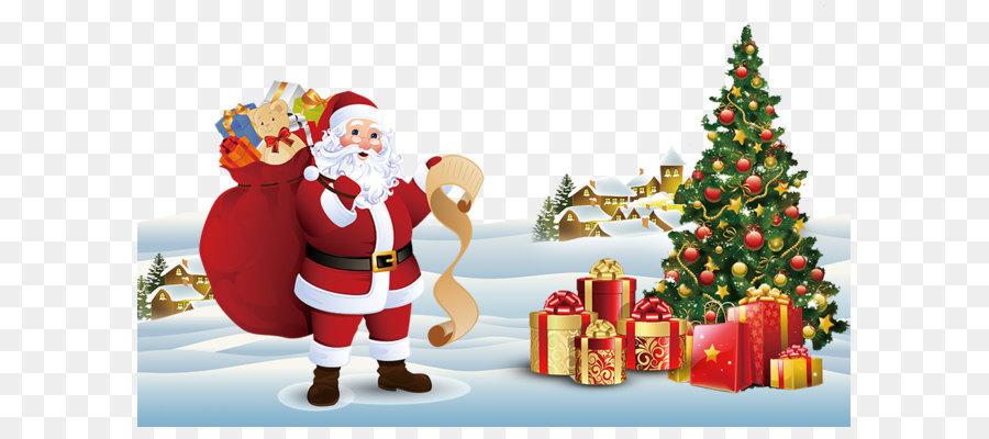 santa claus christmas tree gift christmas card santa claus christmas tree - Santa Decorated Christmas Tree