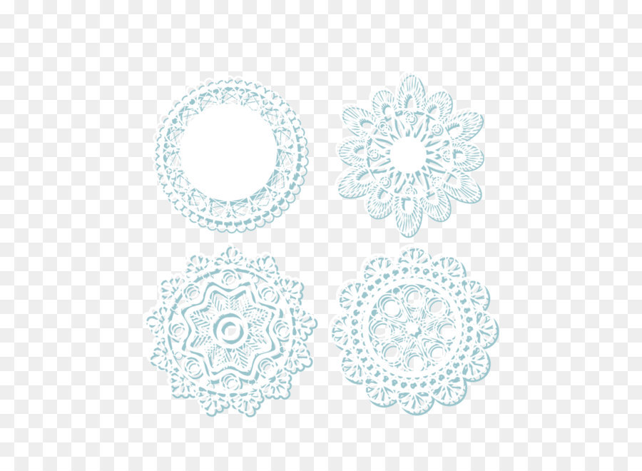 Lace Doily White Pattern   Decorative Lace Tablecloths Transparent  Background Vector Material
