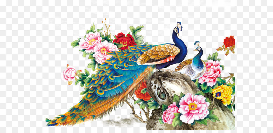 Chinese Painting Techniques Bird Peafowl Wall Decal