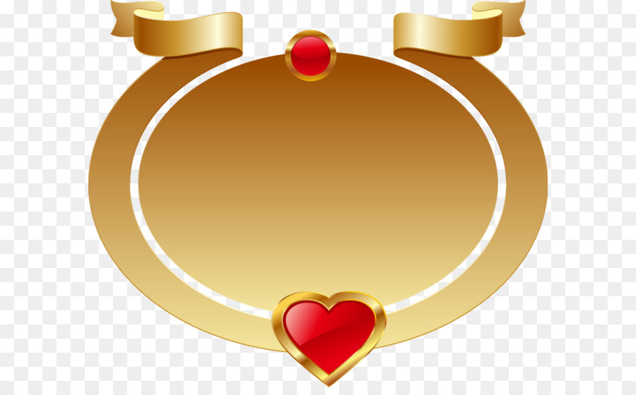 Heart Icon - Gold oval frame red heart-shaped ribbon png download ...