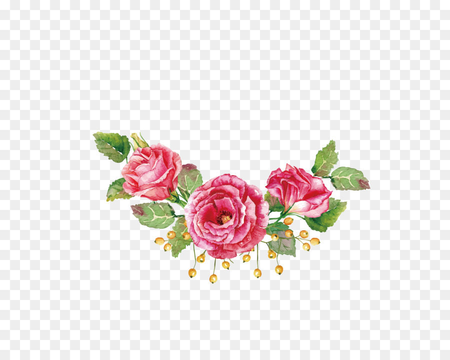 Flower Bouquet Watercolor Painting Beach Rose
