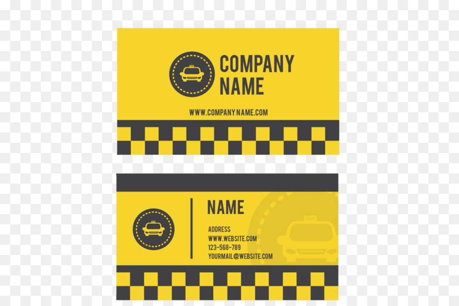 Taxi driver Business card Yellow cab Taxi driver - Yellow checkered ...