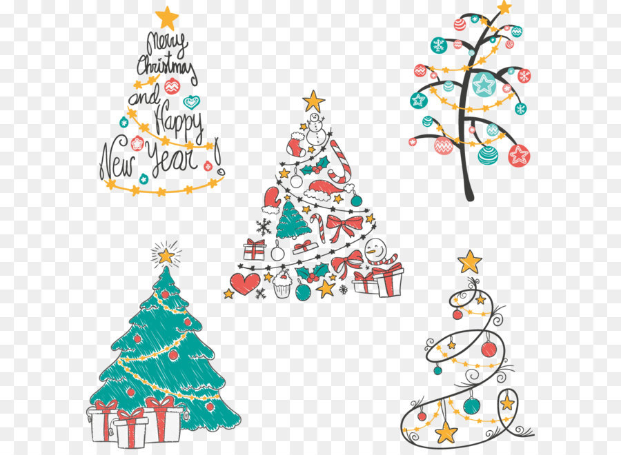 Christmas Tree Euclidean Vector Drawing Vector Hand Painted