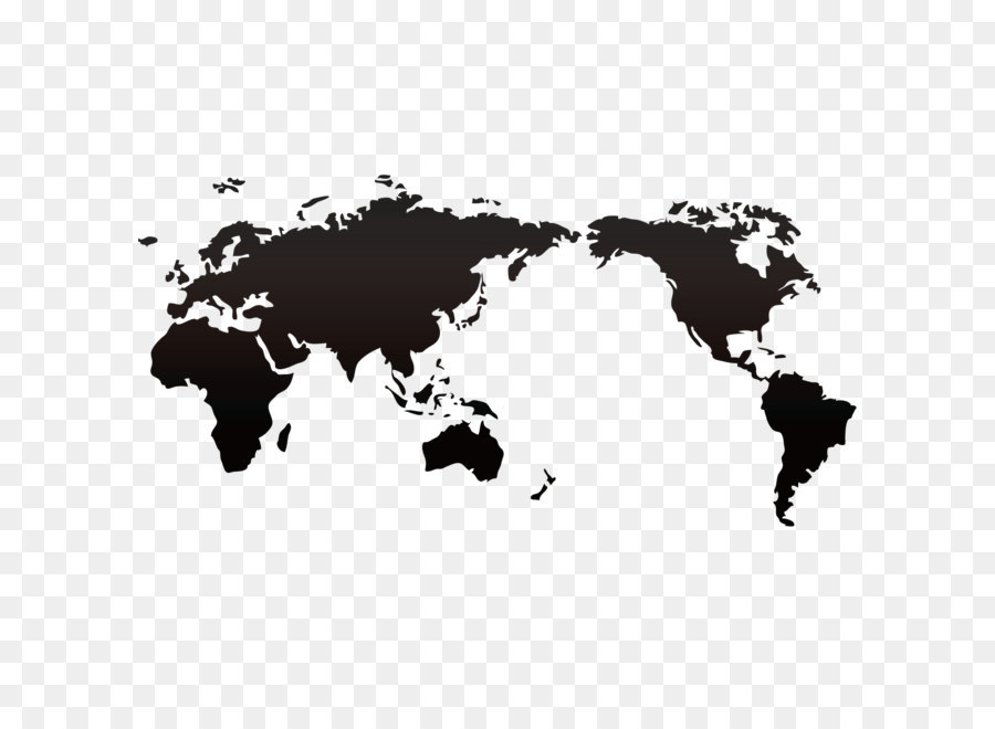 World map Miller cylindrical projection Globe   Map silhouette png