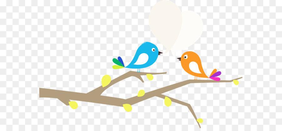 Lovebird Kartun Gambar Cabang Burung Unduh Grafis Desain Produk