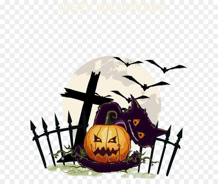Halloween Jack-o\'-lantern Poster - Vector cartoon cat with pumpkins ...