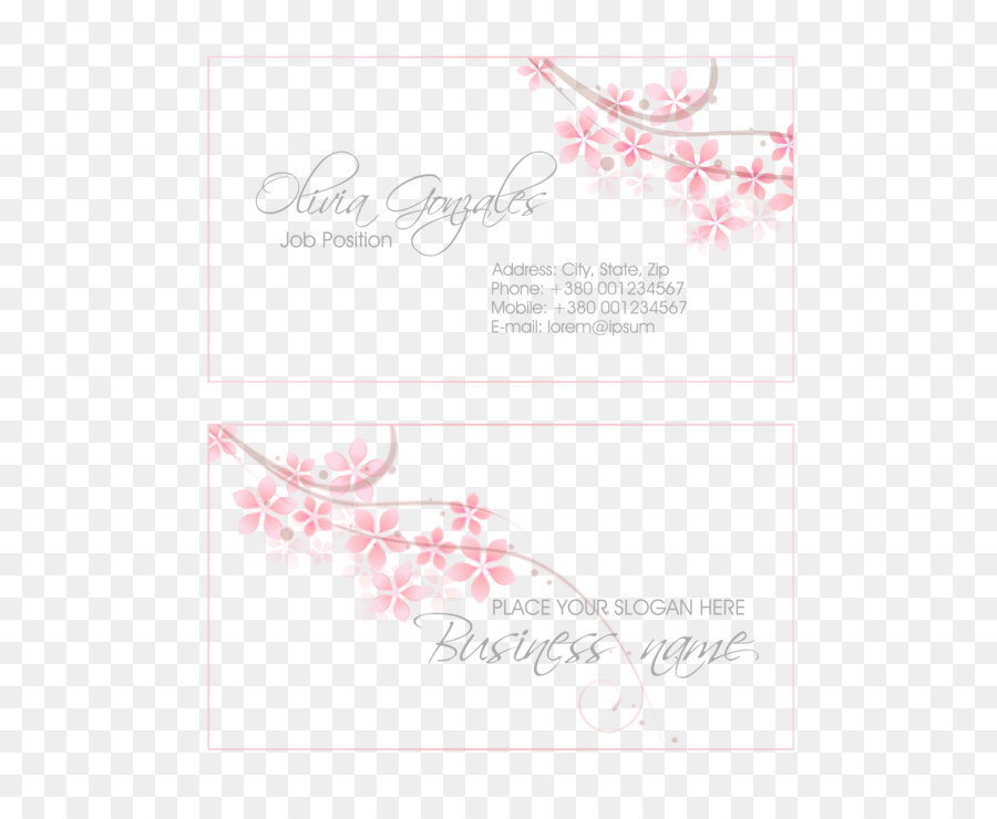 Pink Floral business card design vector material png download - 1969 ...