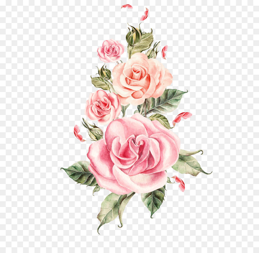 wedding rose flower hand painted pink roses bouquet png download