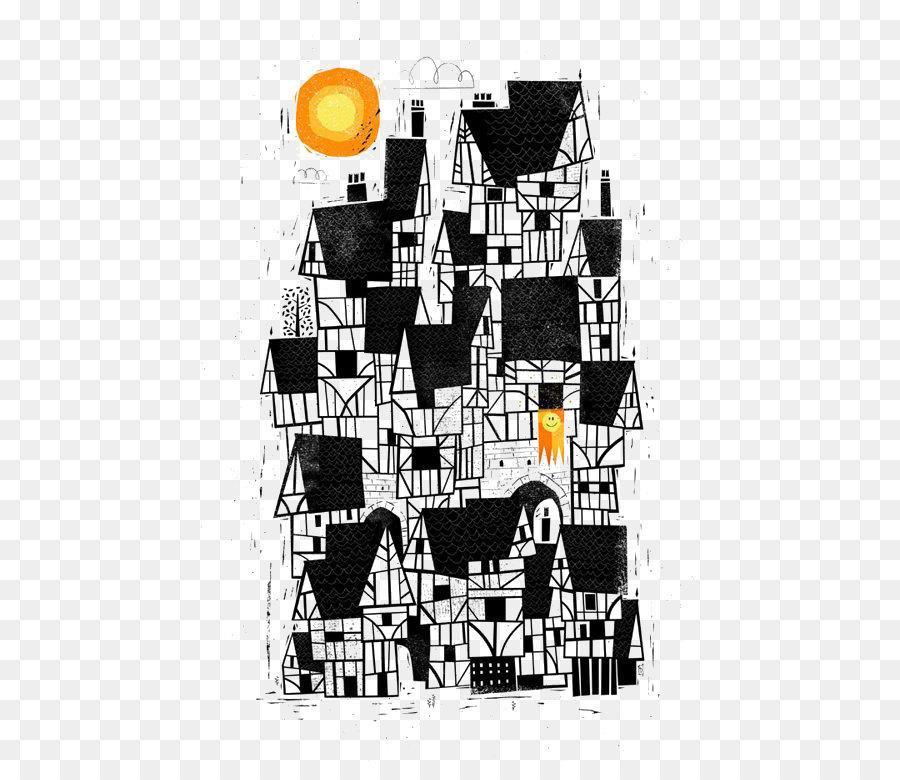 Hitam Dan Putih Kartun Rumah Unduh Square Seni Teks Grafis